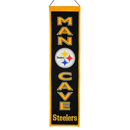 "Pittsburgh Steelers Wool 8"" x 32"" Man Cave Banner"