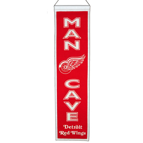 "Detroit Red Wings Wool 8"" x 32"" Man Cave Banner"
