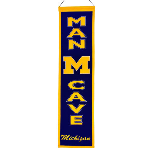 "Michigan Wolverines Wool 8"" x 32"" Man Cave Banner"