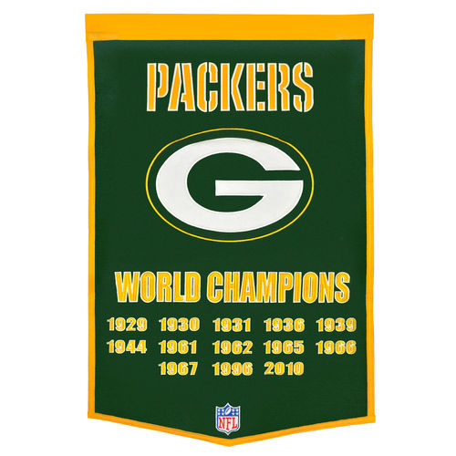 "Green Bay Packers Wool 24"" x 36"" Dynasty Banner"
