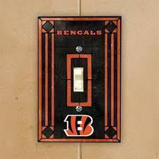 Cincinnatti Bengals Art Glass Switch Plate