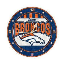Denver Broncos Art Glass Clock