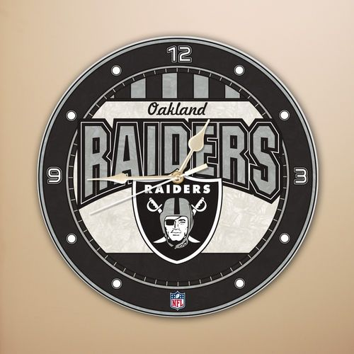 Oakland Raiders Art Glass Clock