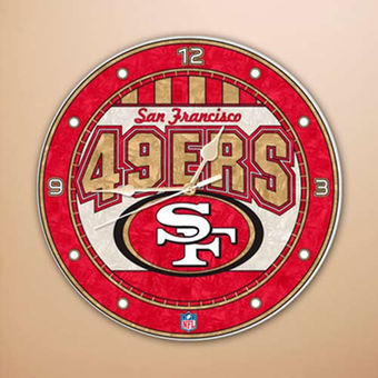 San Francisco 49ers Art Glass Clock
