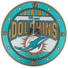 Dolphins art glass clock miami dolphins art glass clock voltagebd Gallery