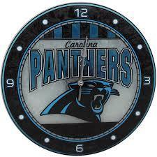 Carolina Panthers Art Glass Clock