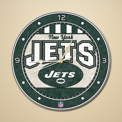 New York Jets Art Glass Clock