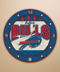 Buffalo Bills Art Glass Clock