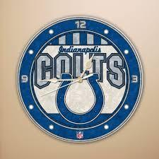 Indianapolis Colts Art Glass Clock