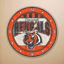 Cincinnatti Bengals Art Glass Clock