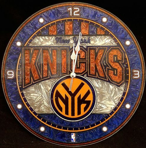 New York Knicks Art Glass Clock
