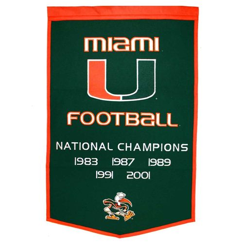"Miami Hurricanes Wool 24"" x 36"" Dynasty Banner"