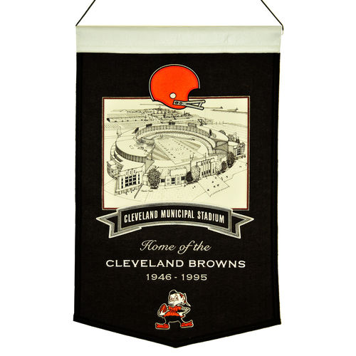 "Cleveland Browns Cleveland Municipal Stadium Wool 15"" x 20"" Commemorative Banner"