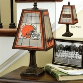 Cleveland Browns Art Glass Lamp