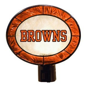 Cleveland Browns Art Glass Nightlamp