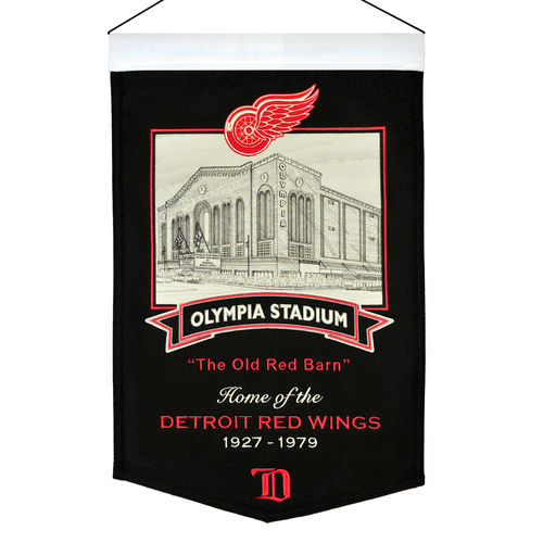 "Detroit Red Wings Olympia Stadium Wool 15"" x 20"" Commemorative Banner"