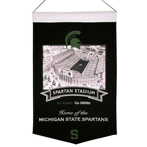 "Michigan State Spartans Spartan Stadium Wool 15"" x 20"" Commemorative Banner"