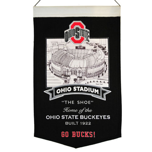 "Ohio State Buckeyes Ohio Stadium Wool 15"" x 20"" Commemorative Banner"