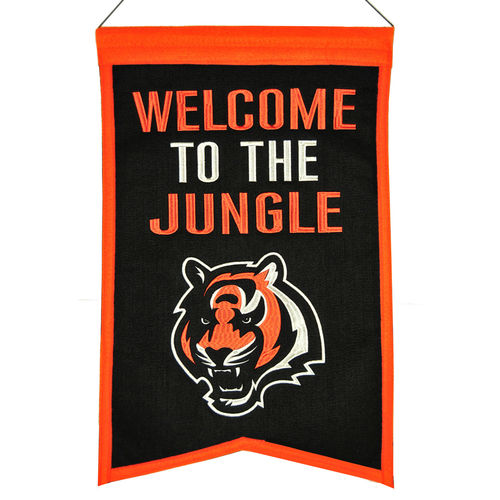 "Cincinnati Bengals Wool 14"" x 22"" Nations Banner"