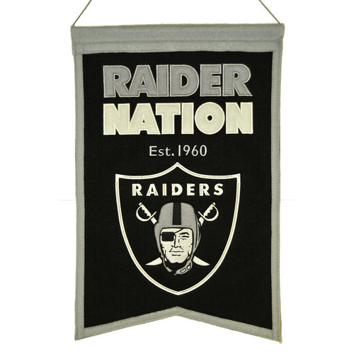 "Oakland Raiders Wool 14"" x 22"" Nations Banner"