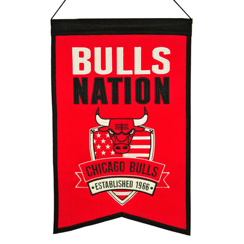 "Chicago Bulls Wool 14"" x 22"" Nations Banner"