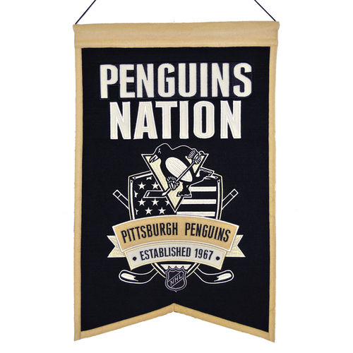 "Pittsburgh Penguins Wool 14"" x 22"" Nations Banner"