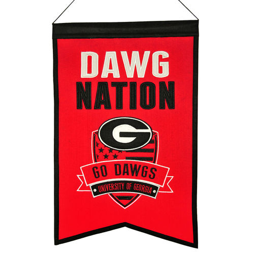 "Georgia Bulldogs Wool 14"" x 22"" Nations Banner"