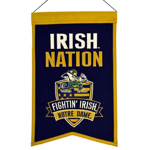 "Notre Dame Fighting Irish Wool 14"" x 22"" Nations Banner"