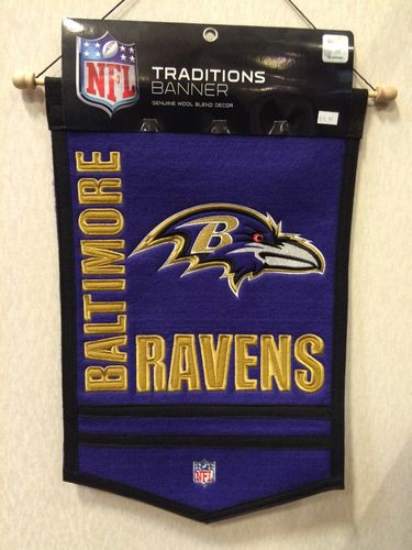 "Baltimore Ravens Wool 18"" x 12"" Traditions Banner"