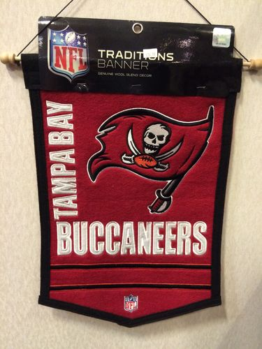 "Tampa Bay Buccaneers Wool 18"" x 12"" Traditions Banner"