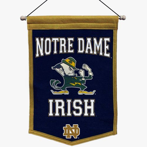 "Notre Dame Fighting Irish Wool 18"" x 12"" Traditions Banner"