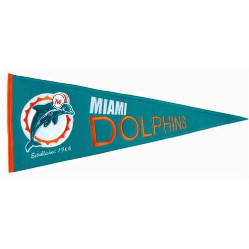 "Miami Dolphins Wool 32"" x 13"" Traditions Pennant"