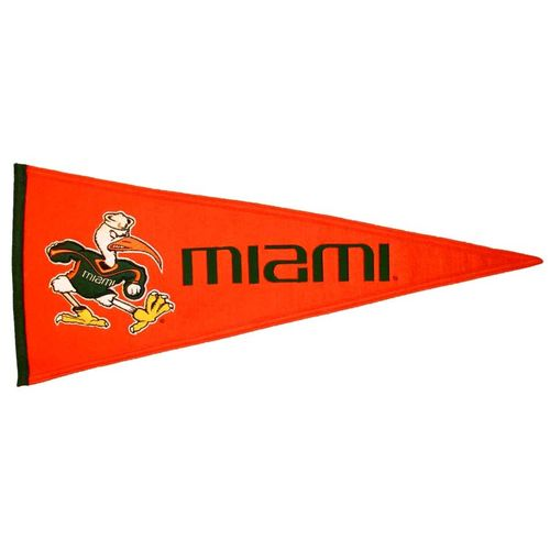 "Miami Hurricanes Wool 32"" x 13"" Traditions Pennant"