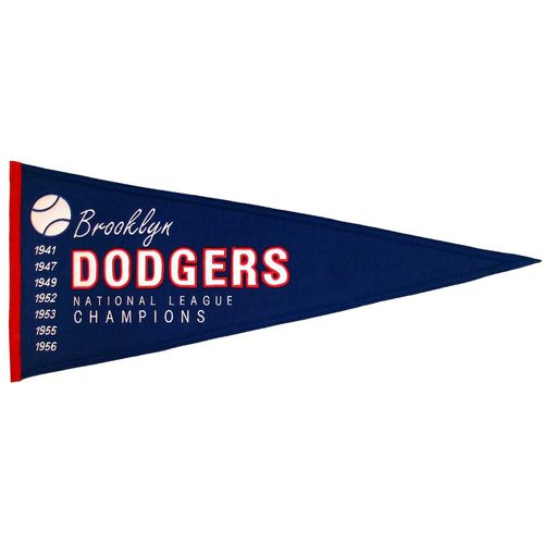 "Brooklyn Dodgers Wool 13"" x 32"" Cooperstown Throwback Pennant"
