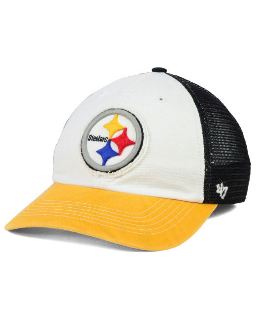 91f1ffa40773c Pittsburgh Steelers Stretch Fit White 47 Brand Hat