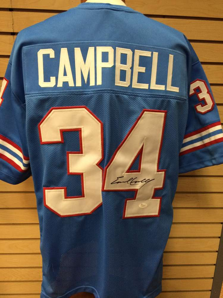 new style 561a3 f0bb6 Earl Campbell Autographed Houston Oilers Jersey #34