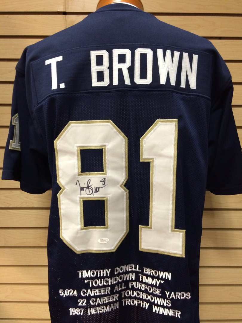size 40 31085 9a032 Tim Brown Autographed Notre Dame Fighting Irish Jersey #81