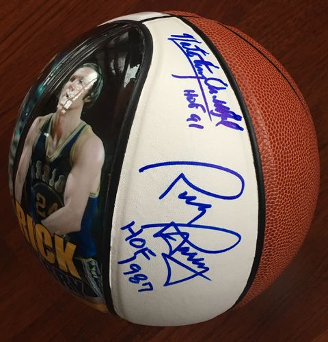 "Nate ""Tiny"" Archibald and Rick Barry Autographed Basketball"