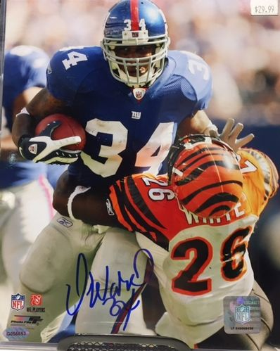 New York Giants Derrick Ward Autograph 8x10 Photo
